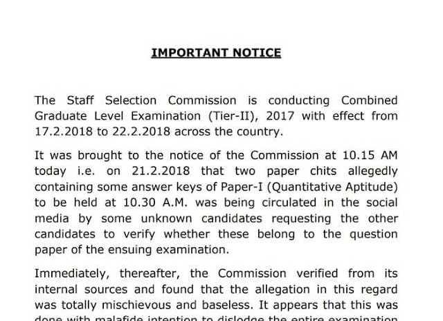 SSC Official Notice for SSC CGL Tier-2 Lead Answer Keys [PDF] - Exam Tyaari
