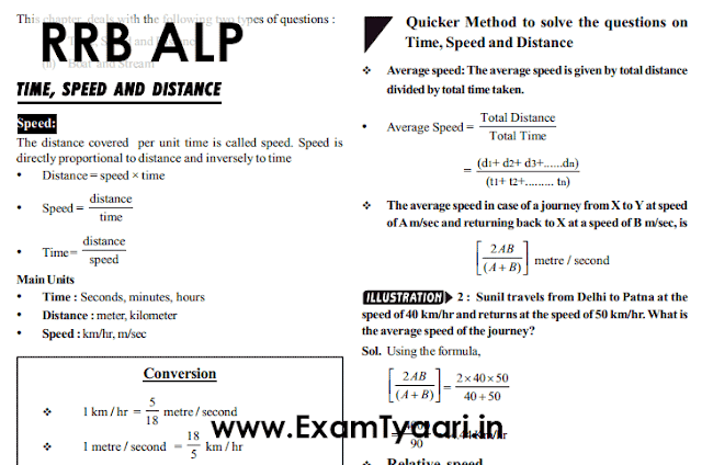 Time Speed and Distance Notes & Shortcut Tricks for RRB ALP Group D Exam with Solved Examples - PDF Download - Exam Tyaari