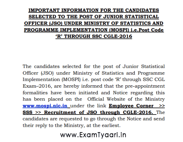 Official Notice: SSC CGL 2016 JSO Selected Candidates [PDF] - Exam Tyaari