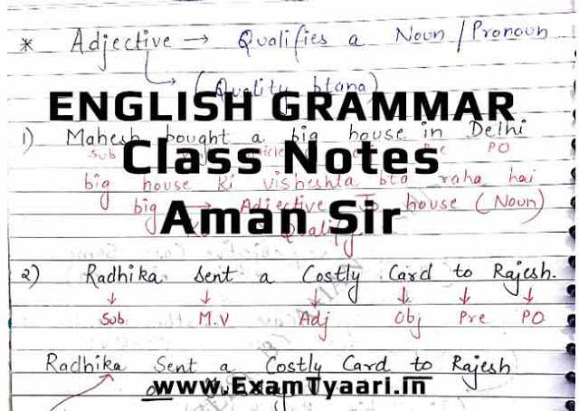 Aman Vashishth English Grammar Class Notes [PDF] • Exam Tyaari