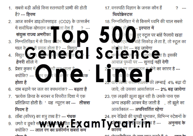 General Science GK PDF in Hindi ultimate 500 MCQ Questions Answers in Hindi [PDF] - Exam Tyaari