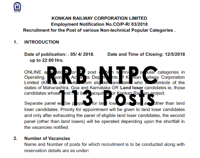 Konkan Railways RRB NTPC Recruitment Out [PDF] - 113 Posts - Exam Tyaari