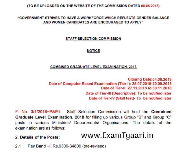 SSC CGL 2018 Official Notice - Download PDF - Exam Tyaari