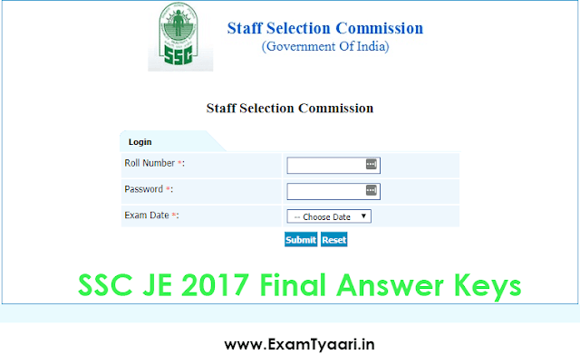 SSC JE 2017 Final Answer Key Out with Question Paper [PDF] - Exam Tyaari