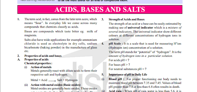 Acid, Bases & Salts Study Notes for Competitive Exams [PDF] - Exam Tyaari