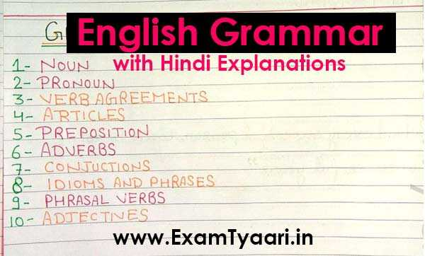 Basic English Grammar PDF in Hindi for Competitive Exams