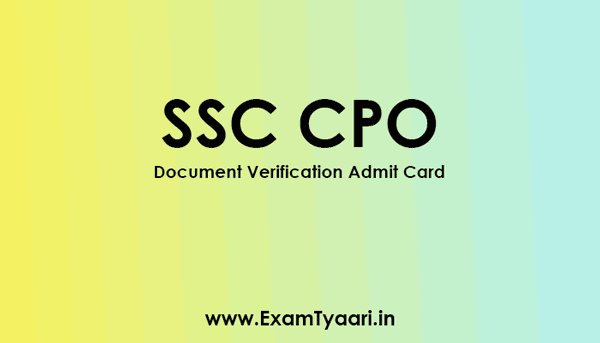 SSC CPO Admit Card - Exam Tyaari