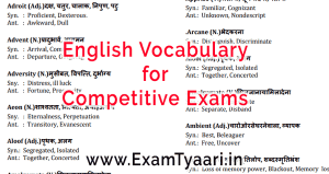 Download English Vocabulary Capsule PDF - Exam Tyaarii