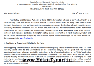 Fssai-recruitment-2019 - Exam Tyaari
