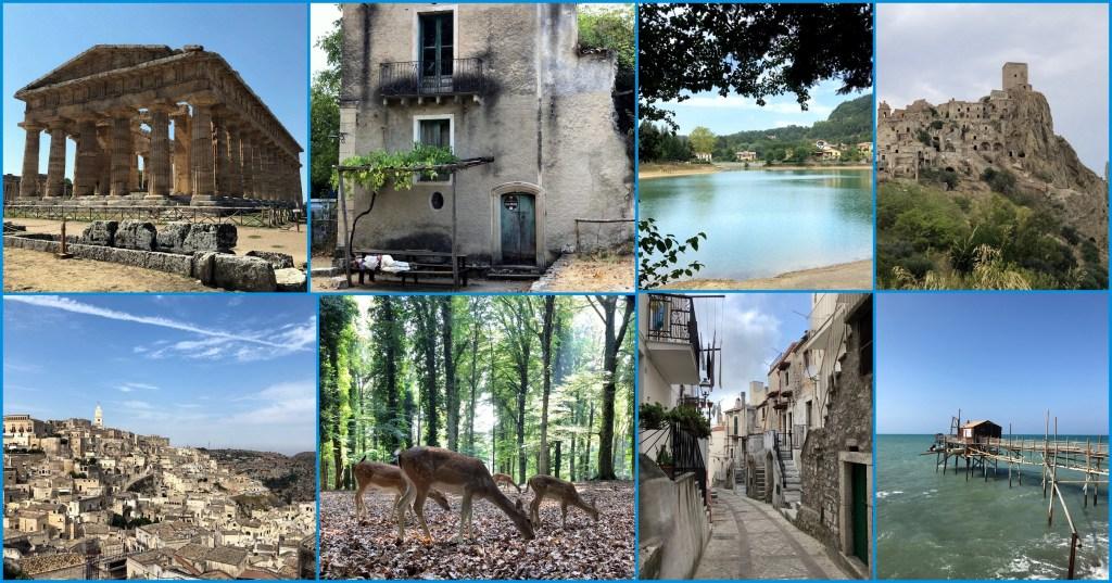 Collage di viaggio in Italia: dalla Campania alla Puglia