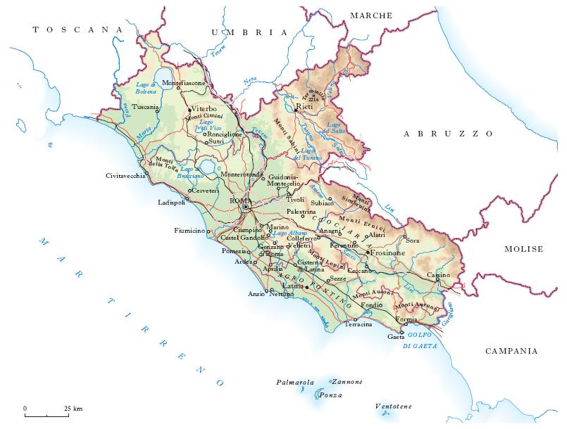 Week end nel Lazio. Cartina fisica del Lazio [Fonte: Enciclopedia Treccani]