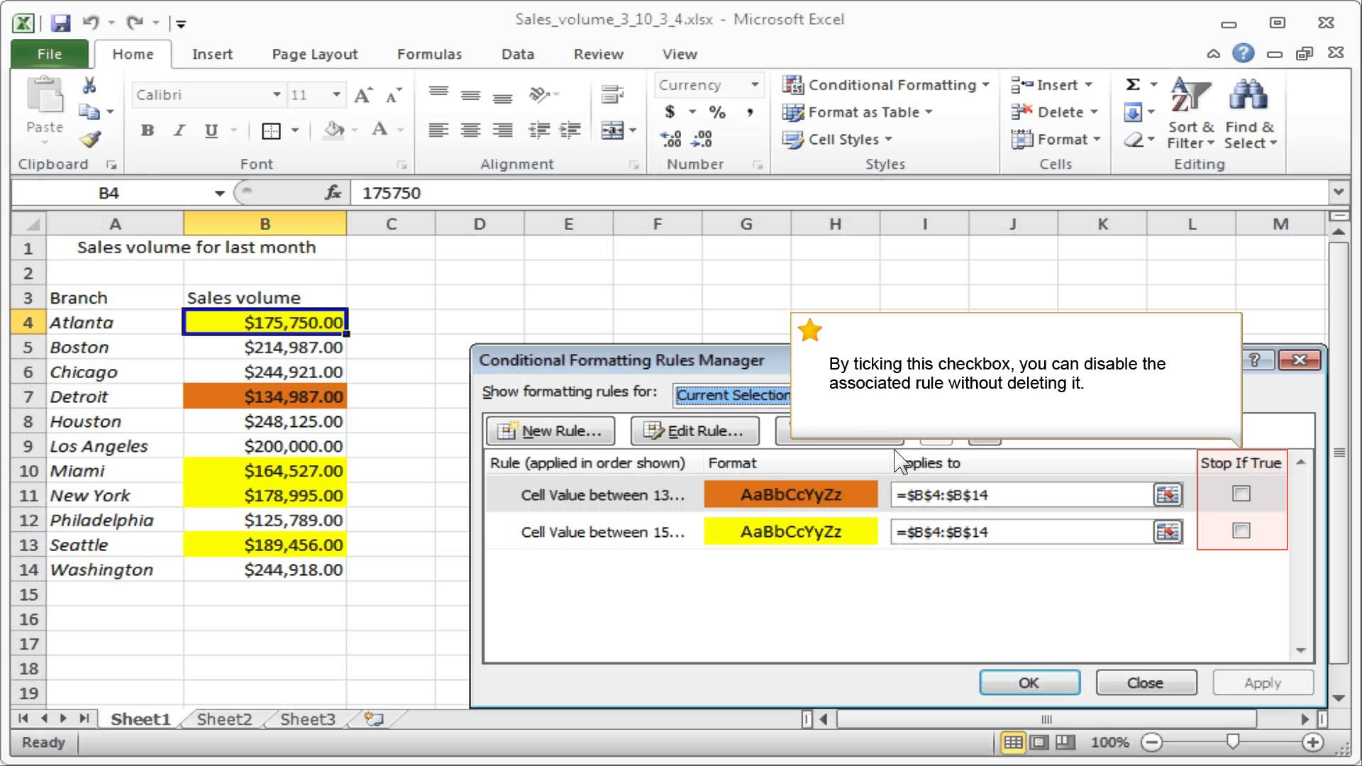 Excel Rule Fromatting Rules