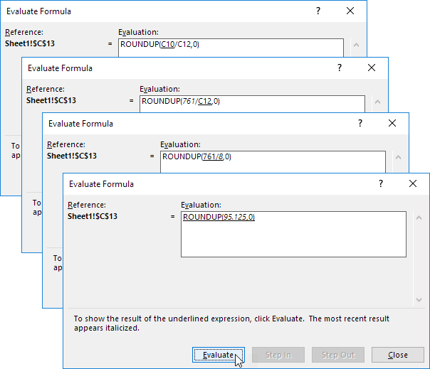 Click Evaluate Four Times