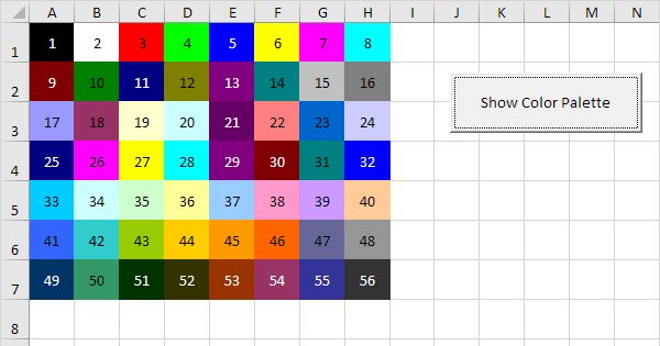 Background Colors In Excel Vba
