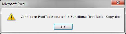 Can't Open Pivot Table Source file - Excel First