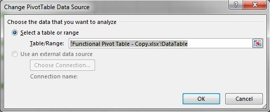 Change Data Source Absolute reference