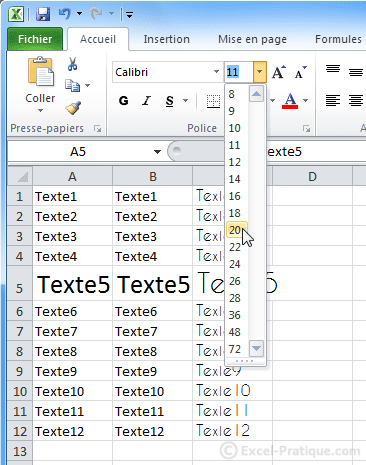 changer taille caracteres - excel bases2