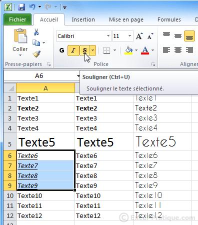 texte souligne - excel bases2