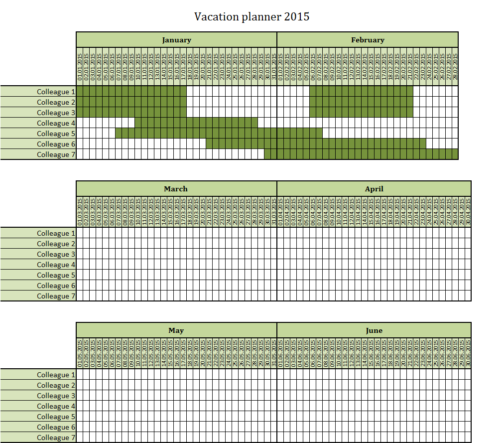 Calendar Planner Excel Template : Vacation planner excel template free to download