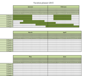 Vacation planner 2015 Excel template