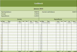 VAT-cashbook Excel template