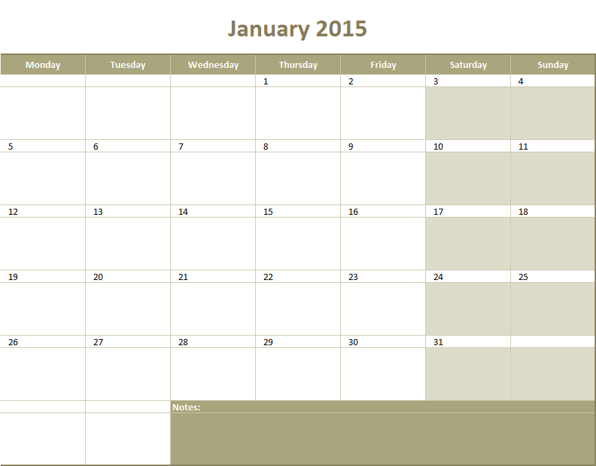 calendar 2015 monthly template