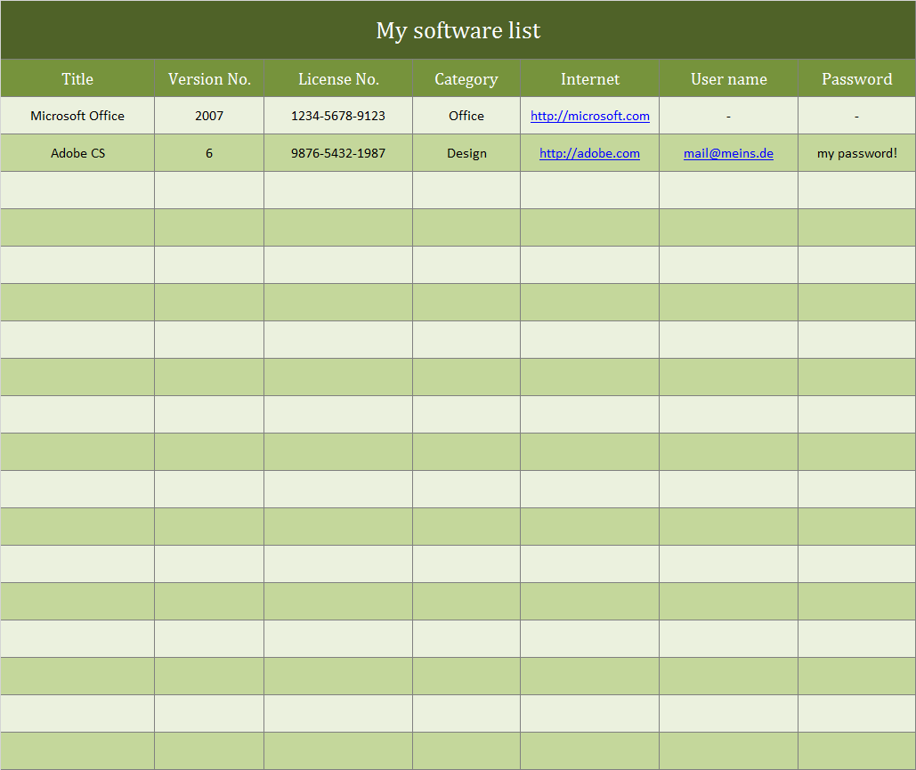excel catalog template
