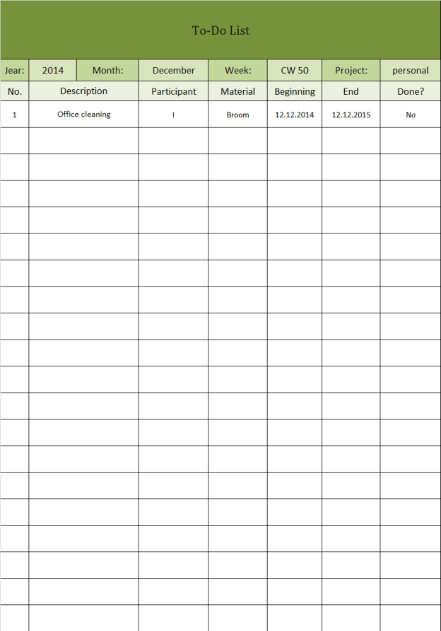 Monthly To Do List Excel Template