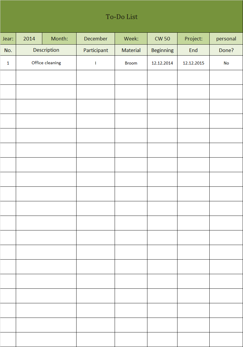 todo template excel