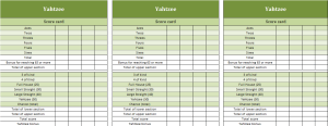 Excel template for Yahtzee