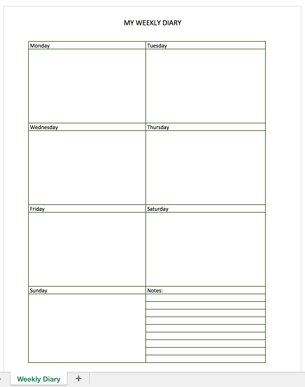 Free Diary For Excel