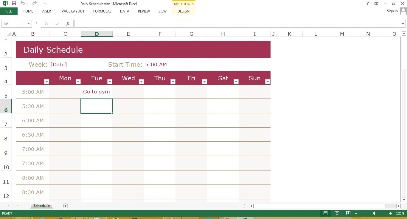 Daily Schedule Excel Template Excel Templates For Every Purpose - Daily timeline excel template