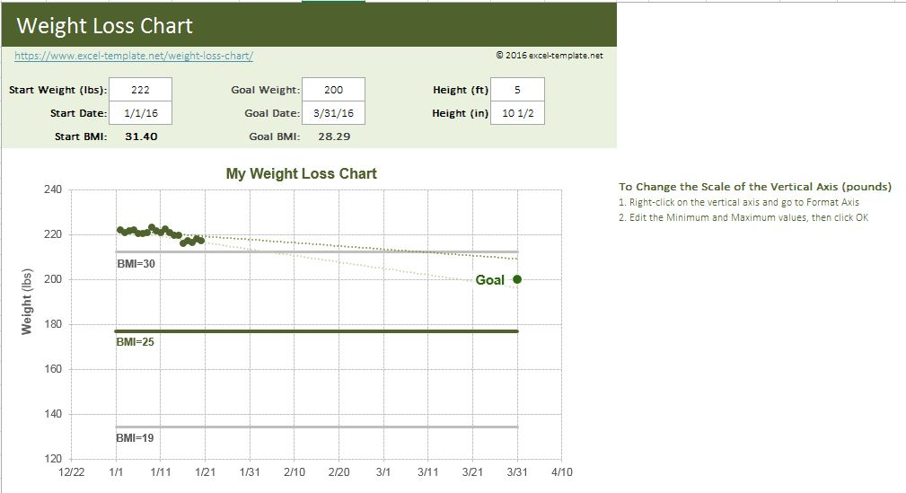 Weight Loss Chart  Excel Templates For Every Purpose