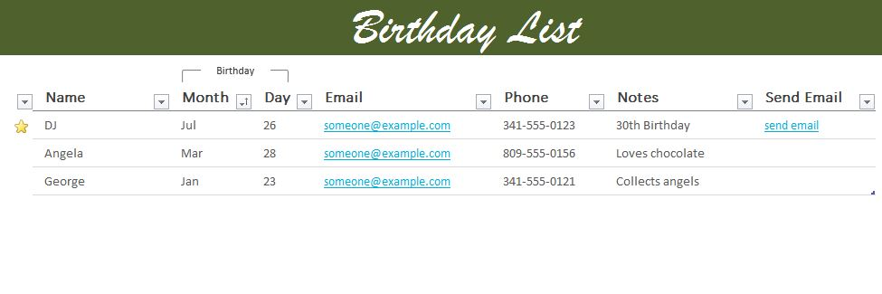 Birthday List Excel Templates for every purpose