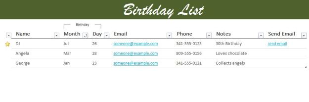 Birthday List Excel Template
