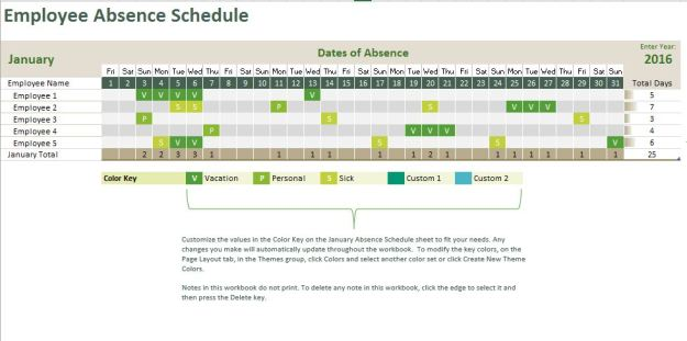 Absence Tracking Calendar | Excel Templates for every purpose