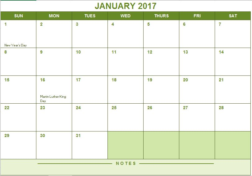 2017 Full Year Calendar | Excel Templates for every purpose