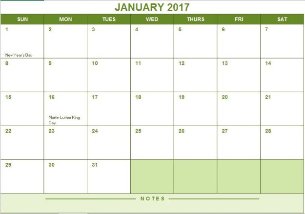 2017 Full Year Calendar Free Excel Template