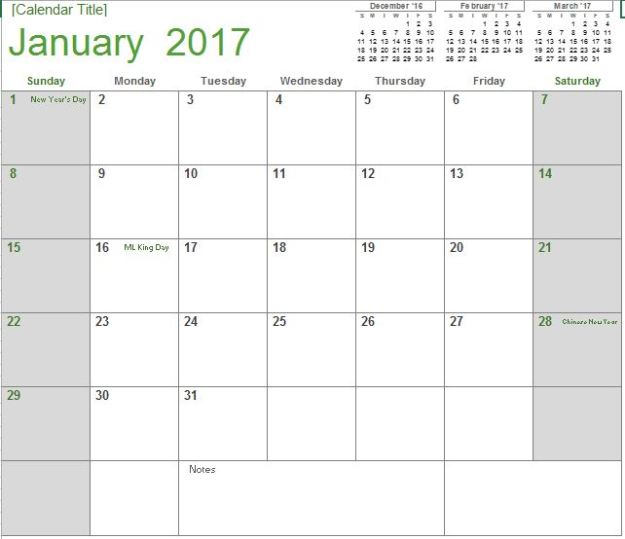 2017 Monthly Calendar Light Free Excel Template