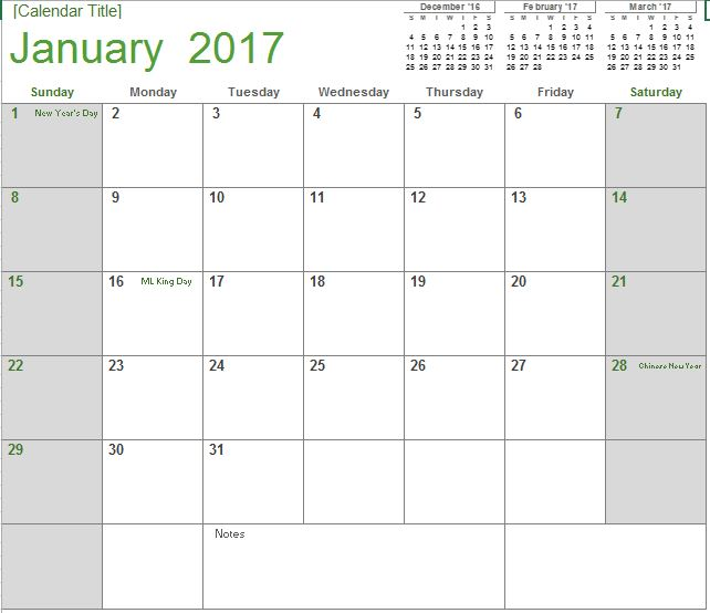 2017 Monthly Calendar | Excel Templates For Every Purpose