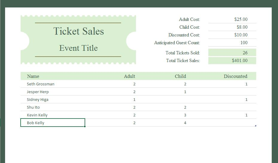 Ticket Sales Tracker | Excel Templates for every purpose