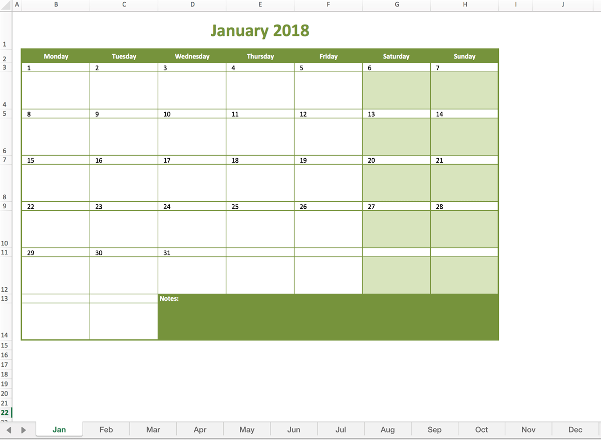 monthly calendar 2018 excel templates for every purpose. Black Bedroom Furniture Sets. Home Design Ideas