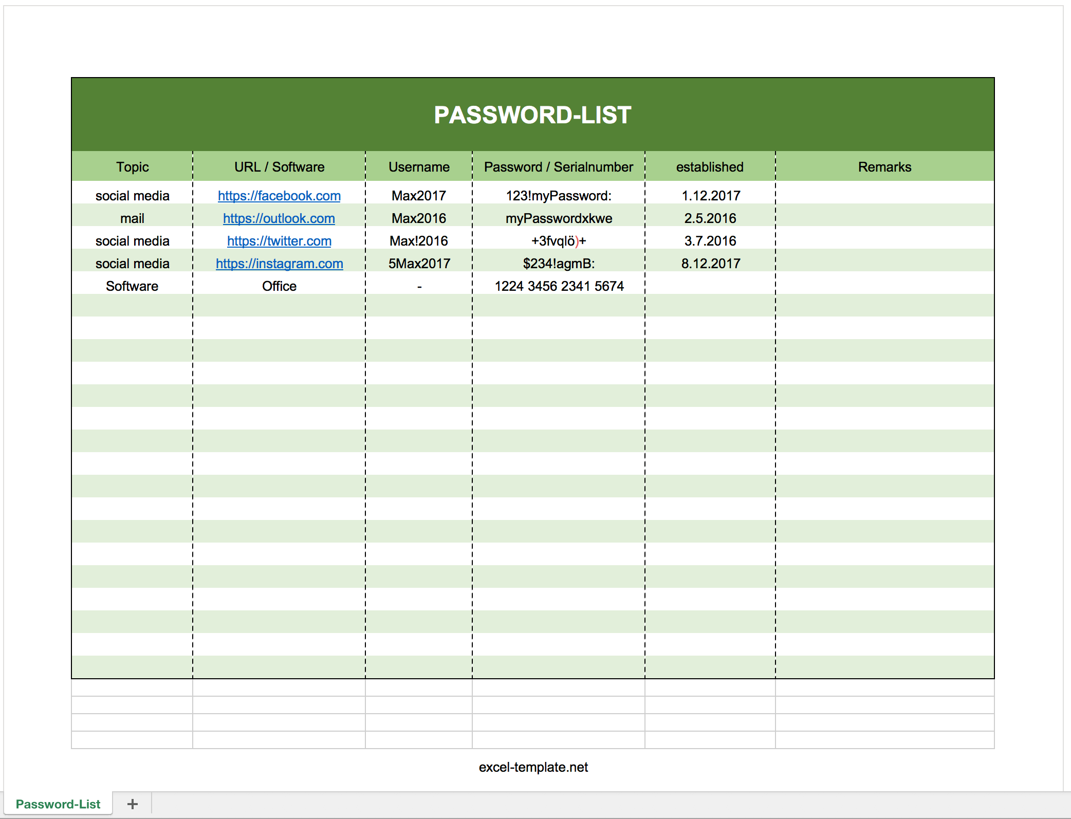 Free Password Log List As Excel Template