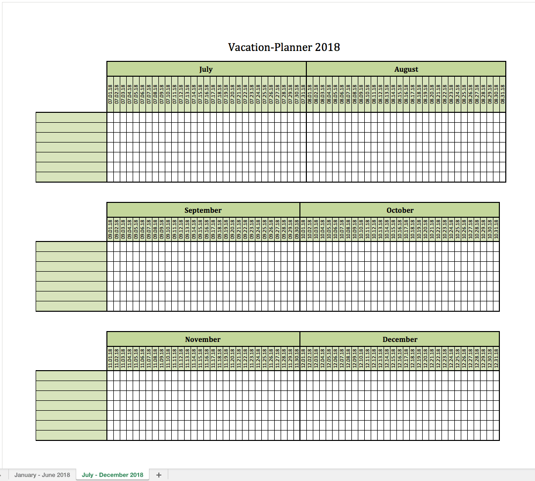 vacationplanner 2018 excel templates for every purpose