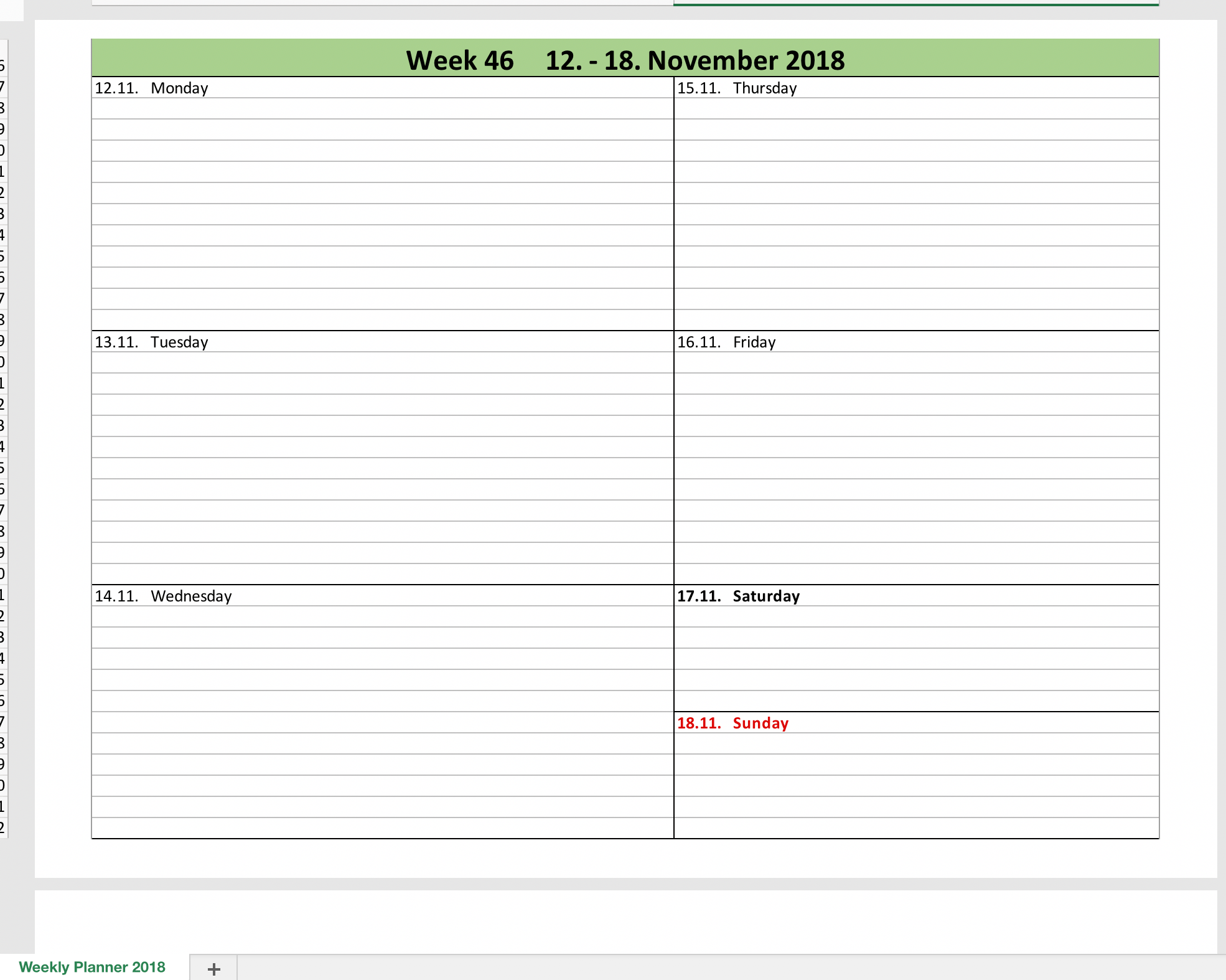 week by week planner template - weekly calendar 2018 with excel excel templates for