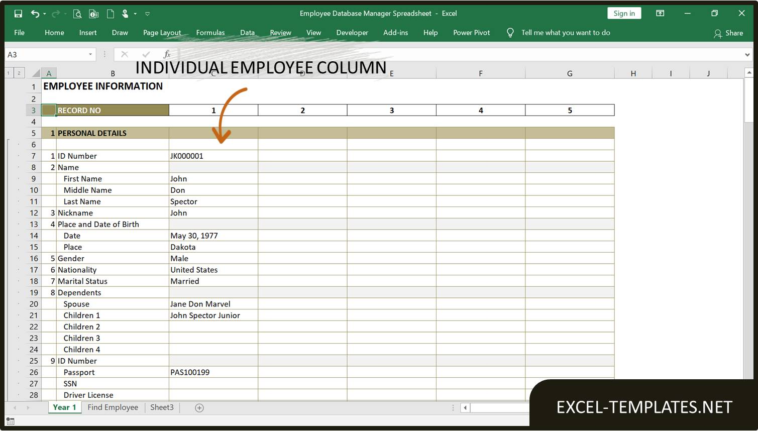 Employee Database Manager Excel Templates