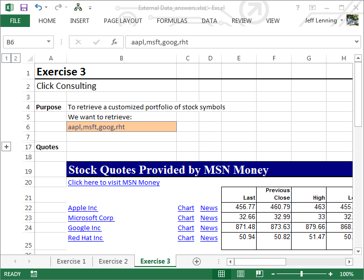 Msn Moneycentral Stock Quotes Excel