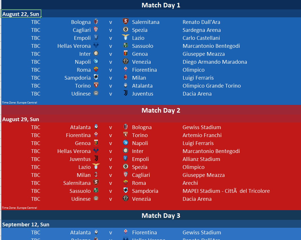 Serie A League Table in Excel with Monte-Carlo Predictions