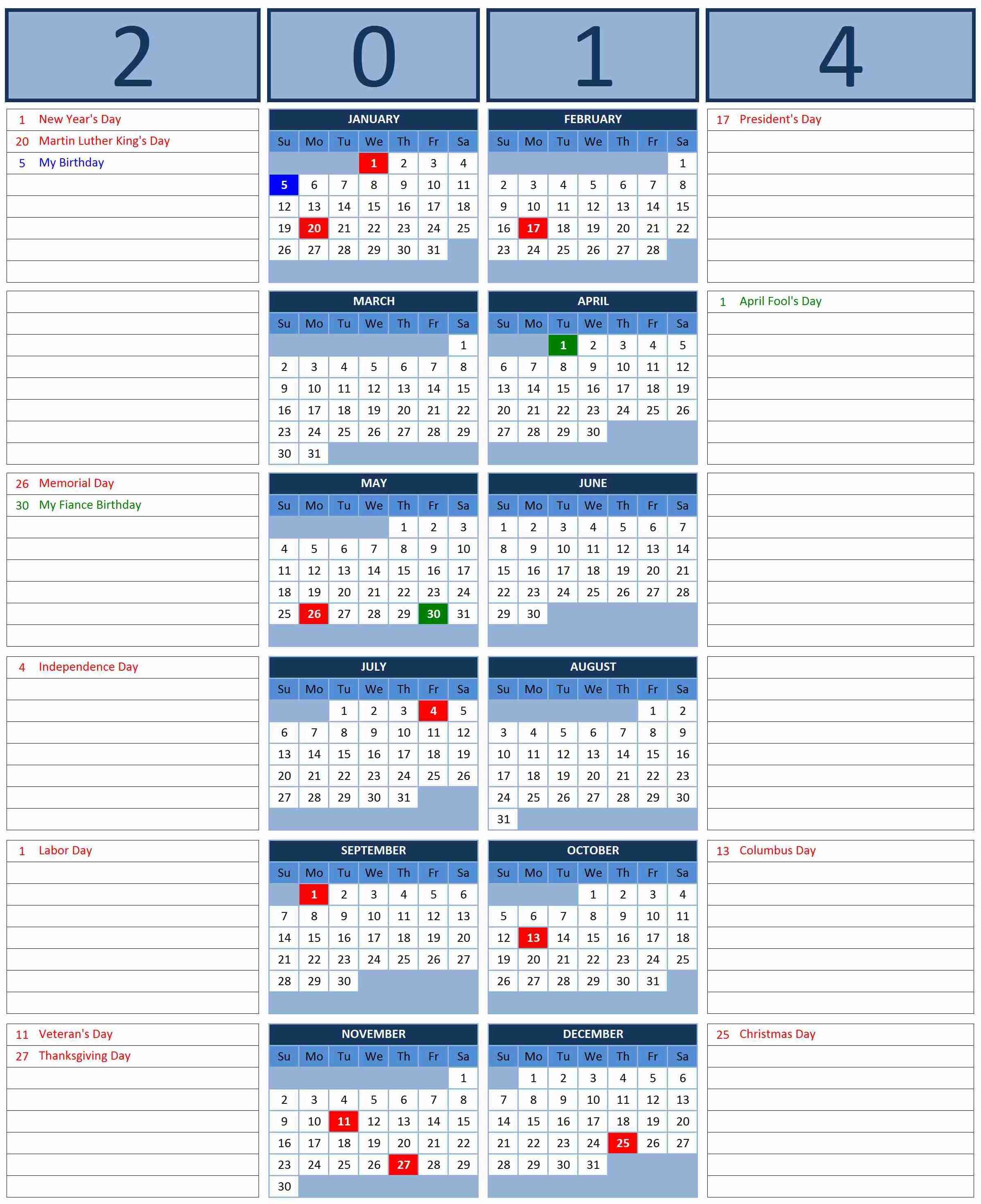 Calendarexcel Calendars