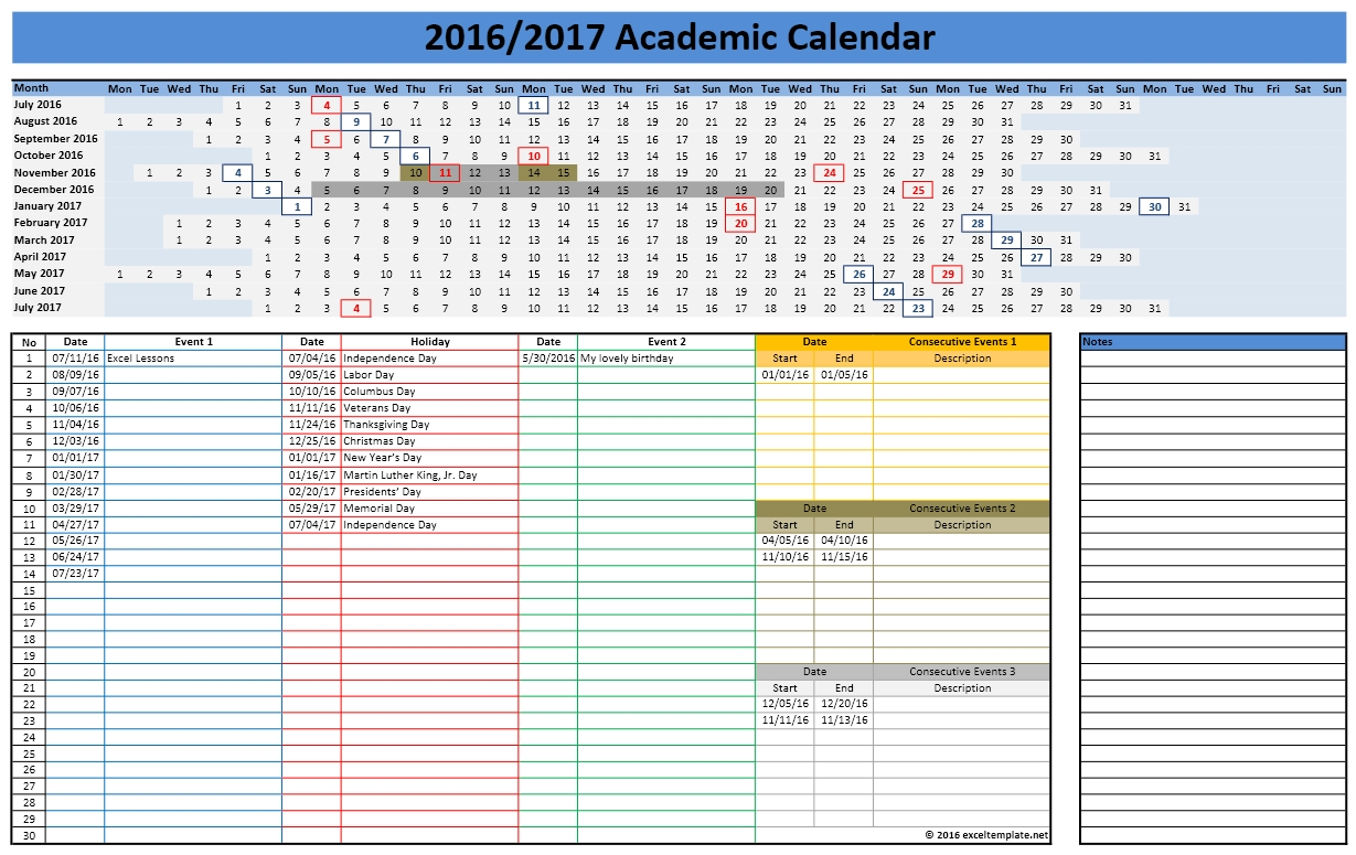 School Calendars Excel Calendars